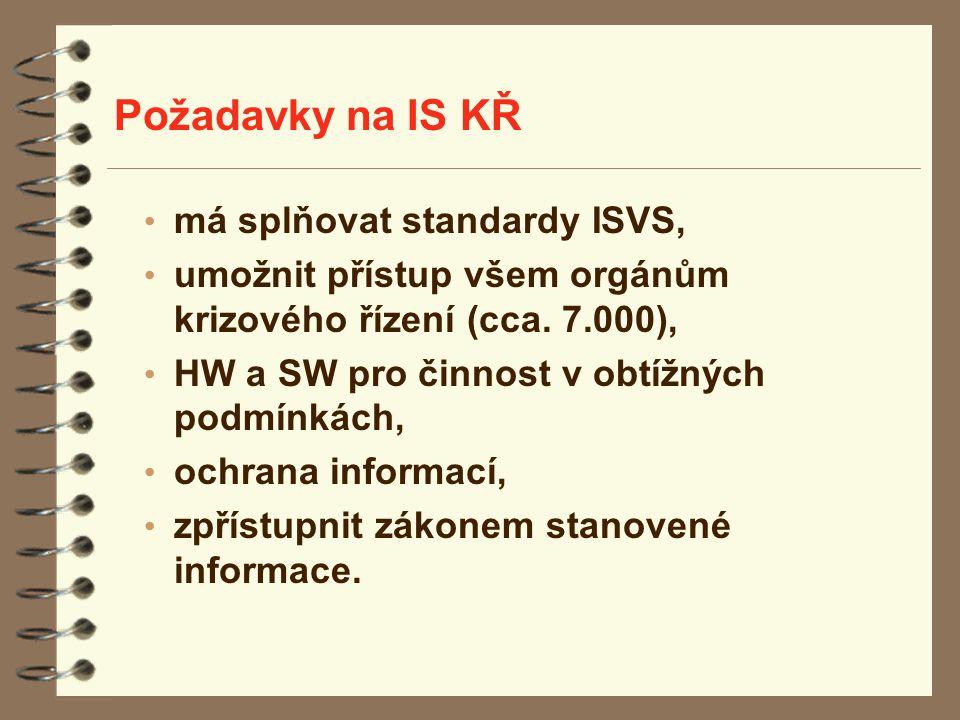 Požadavky na IS KŘ má splňovat standardy ISVS, umožnit přístup všem orgánům krizového řízení (cca. 7.000), HW a SW pro činnost v obtížných podmínkách,