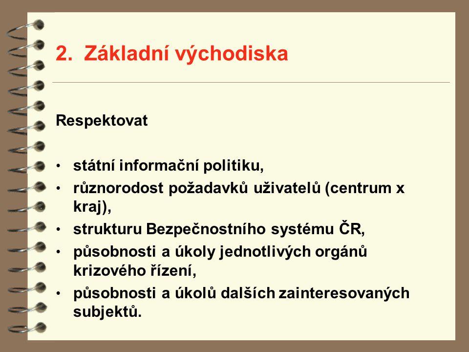 2. Základní východiska Respektovat státní informační politiku, různorodost požadavků uživatelů (centrum x kraj), strukturu Bezpečnostního systému ČR,