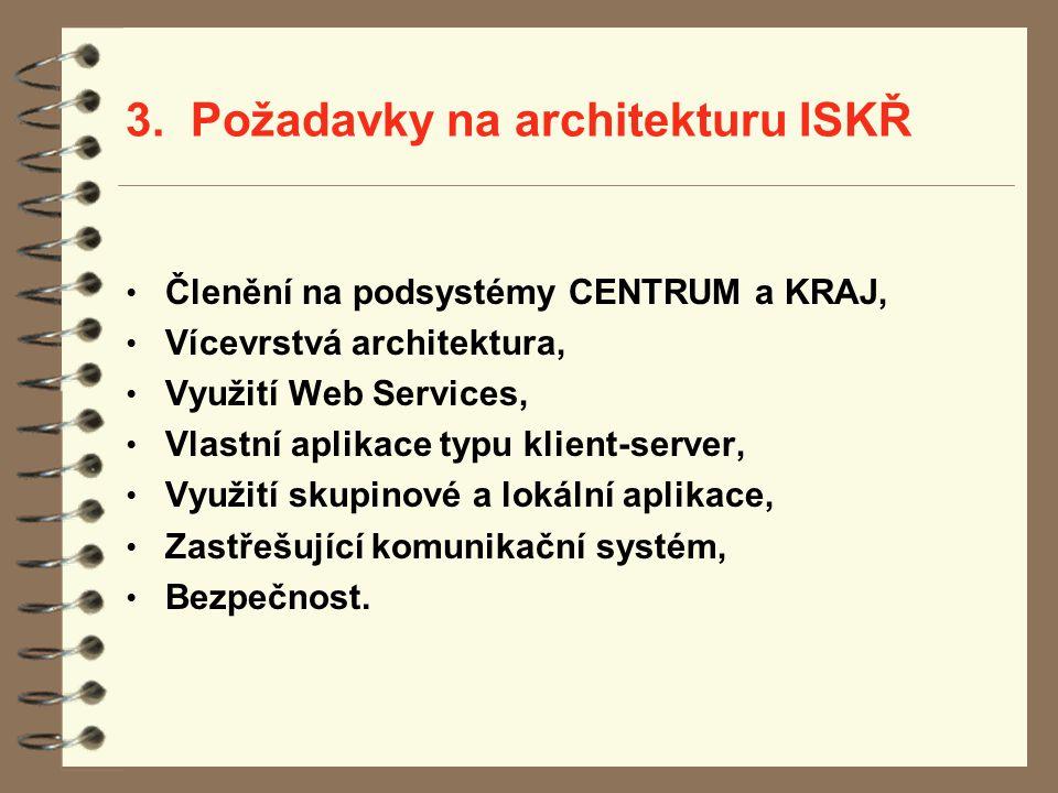 3. Požadavky na architekturu ISKŘ Členění na podsystémy CENTRUM a KRAJ, Vícevrstvá architektura, Využití Web Services, Vlastní aplikace typu klient-se