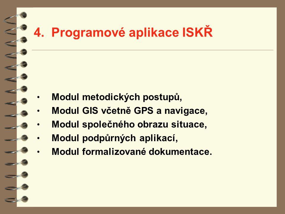 4. Programové aplikace ISKŘ Modul metodických postupů, Modul GIS včetně GPS a navigace, Modul společného obrazu situace, Modul podpůrných aplikací, Mo