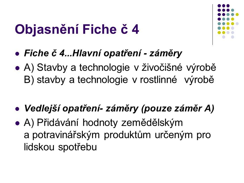 Objasnění Fiche č 4 Fiche č 4...Hlavní opatření - záměry A) Stavby a technologie v živočišné výrobě B) stavby a technologie v rostlinné výrobě Vedlejší opatření- záměry (pouze záměr A) A) Přidávání hodnoty zemědělským a potravinářským produktům určeným pro lidskou spotřebu