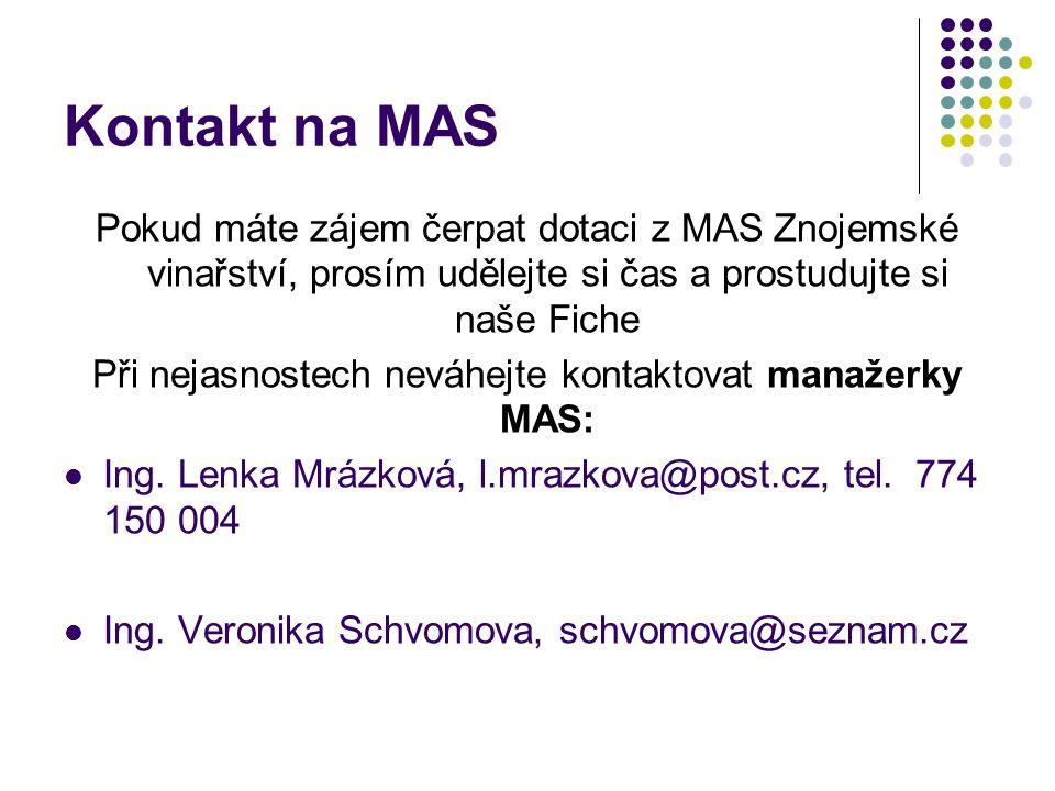 Kontakt na MAS Pokud máte zájem čerpat dotaci z MAS Znojemské vinařství, prosím udělejte si čas a prostudujte si naše Fiche Při nejasnostech neváhejte kontaktovat manažerky MAS: Ing.
