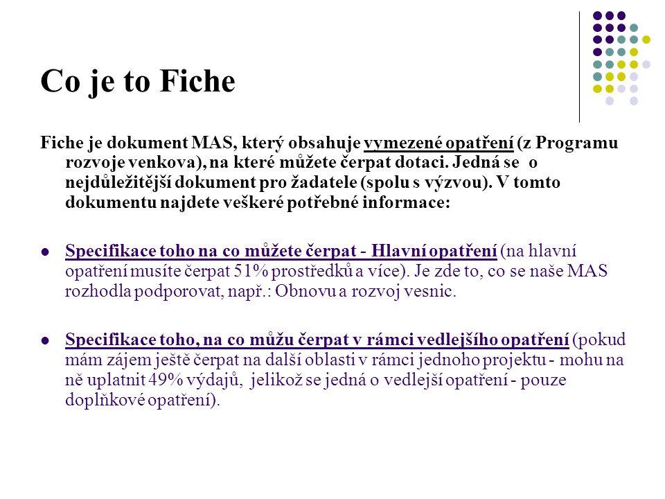 Co je to Fiche Fiche je dokument MAS, který obsahuje vymezené opatření (z Programu rozvoje venkova), na které můžete čerpat dotaci. Jedná se o nejdůle