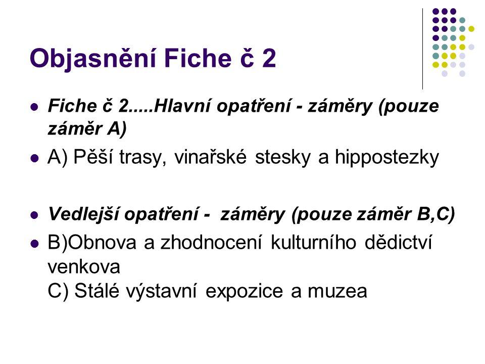 Objasnění Fiche č 2 Fiche č 2.....Hlavní opatření - záměry (pouze záměr A) A) Pěší trasy, vinařské stesky a hippostezky Vedlejší opatření - záměry (po