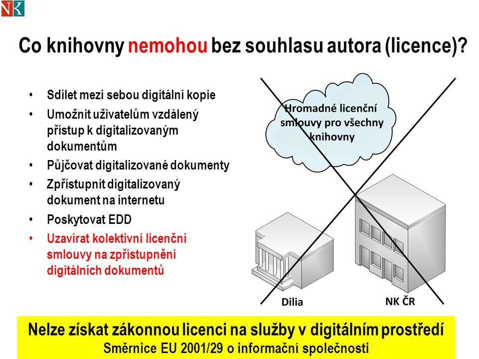 Co knihovny nemohou bez souhlasu autora (licence).