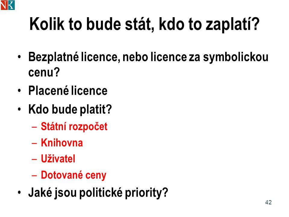 Kolik to bude stát, kdo to zaplatí.Bezplatné licence, nebo licence za symbolickou cenu.