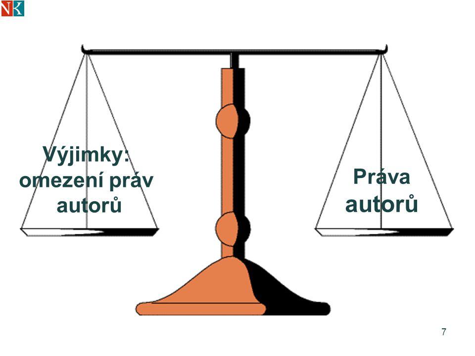 Limity novely AZ Směrnice EU 2001/29 o informační společnosti Nelze získat nebo prosadit zákonnou licenci na volné šíření elektronických dokumentů – půjčování, dálkový přístup, volné zpřístupnění na internetu 8