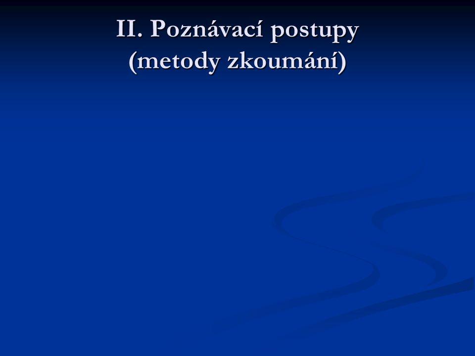 II. Poznávací postupy (metody zkoumání)