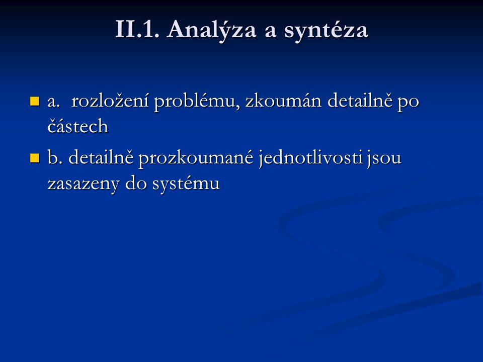 II.1. Analýza a syntéza a. rozložení problému, zkoumán detailně po částech a. rozložení problému, zkoumán detailně po částech b. detailně prozkoumané