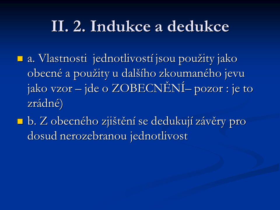 II. 2. Indukce a dedukce a. Vlastnosti jednotlivostí jsou použity jako obecné a použity u dalšího zkoumaného jevu jako vzor – jde o ZOBECNĚNÍ– pozor :