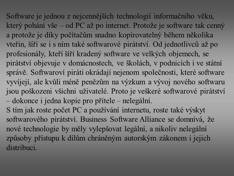 Podle studie IDC o stavu pirátství ve světě obsahovalo 41 procent nových počítačů zakoupených v České republice v roce 2004 nelegální počítačové programy.