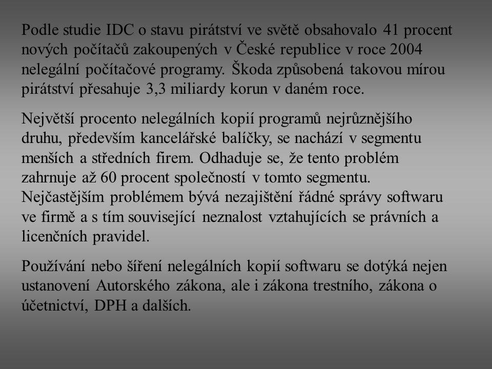 Podle studie IDC o stavu pirátství ve světě obsahovalo 41 procent nových počítačů zakoupených v České republice v roce 2004 nelegální počítačové progr