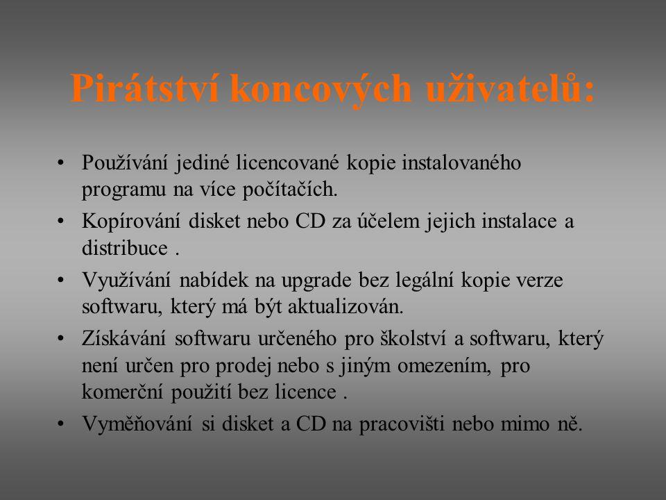 Pirátství koncových uživatelů: Používání jediné licencované kopie instalovaného programu na více počítačích. Kopírování disket nebo CD za účelem jejic