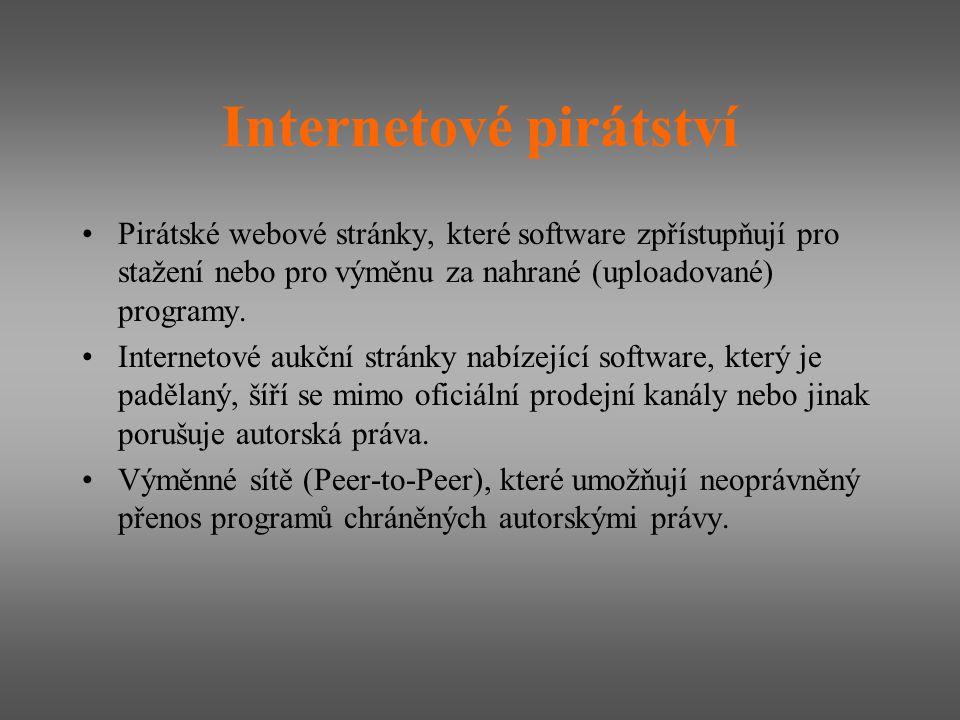 Internetové pirátství Pirátské webové stránky, které software zpřístupňují pro stažení nebo pro výměnu za nahrané (uploadované) programy. Internetové
