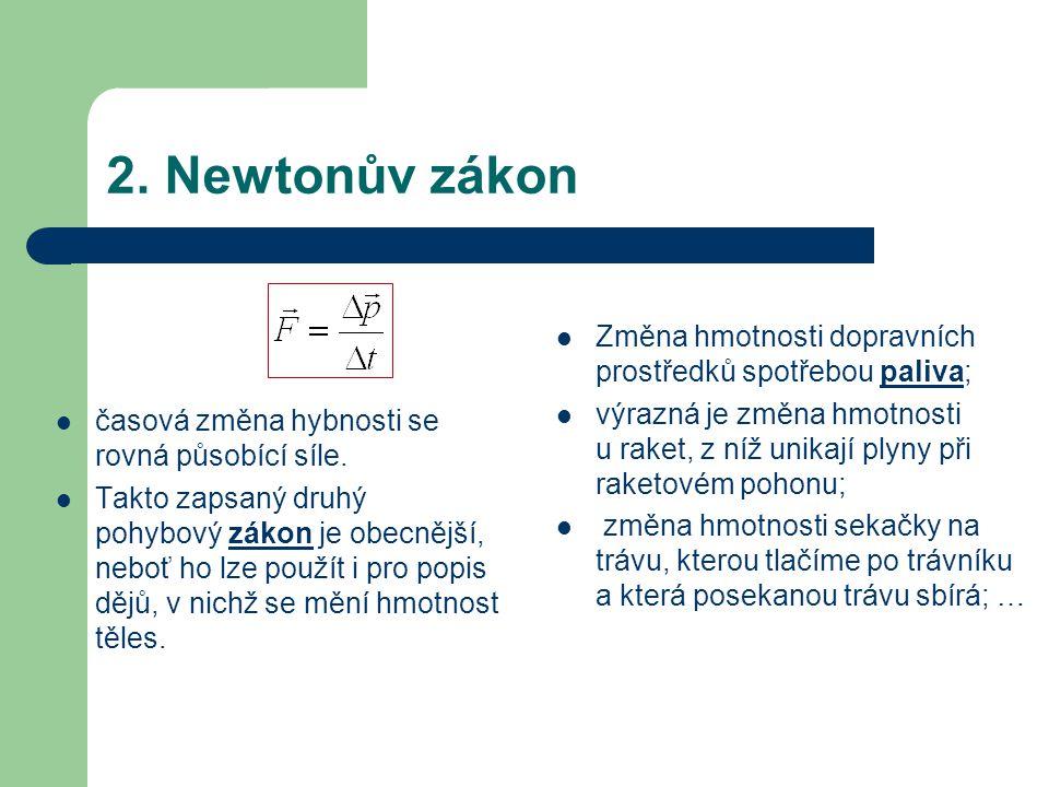 2. Newtonův zákon časová změna hybnosti se rovná působící síle.