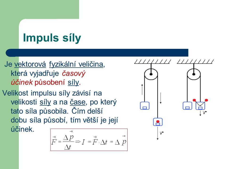 Impuls síly Je vektorová fyzikální veličina, která vyjadřuje časový účinek působení síly.vektorováfyzikální veličinasíly Velikost impulsu síly závisí na velikosti síly a na čase, po který tato síla působila.