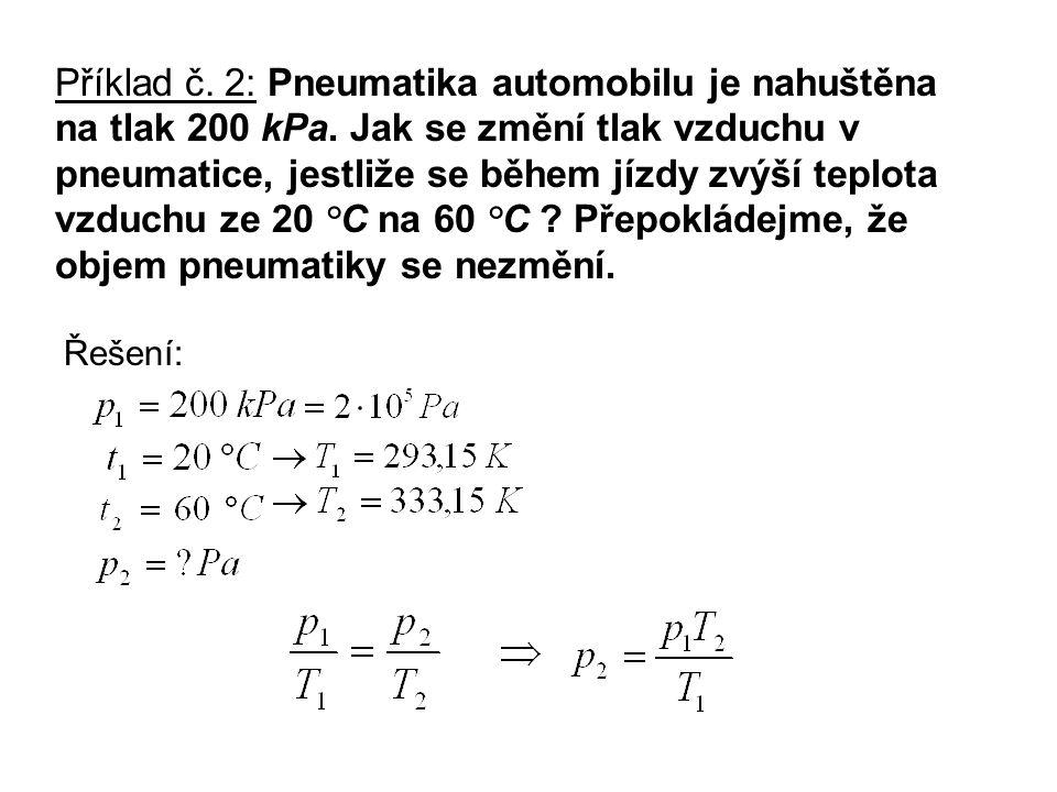 Příklad č. 2: Pneumatika automobilu je nahuštěna na tlak 200 kPa.