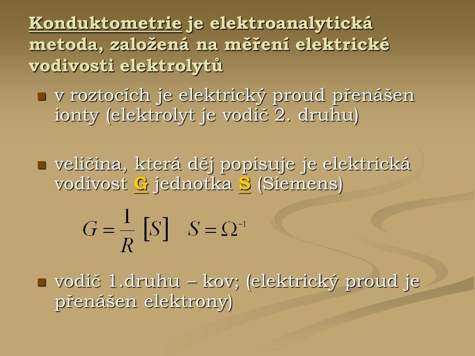 Konduktometrie je elektroanalytická metoda, založená na měření elektrické vodivosti elektrolytů v roztocích je elektrický proud přenášen ionty (elektr