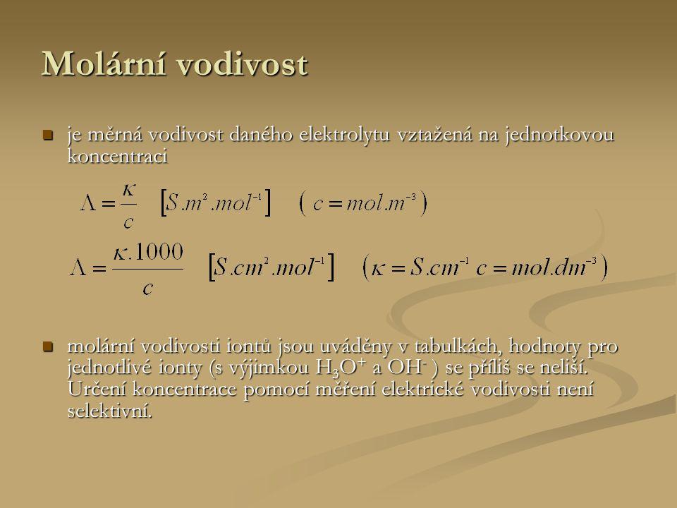 Molární vodivost je měrná vodivost daného elektrolytu vztažená na jednotkovou koncentraci je měrná vodivost daného elektrolytu vztažená na jednotkovou