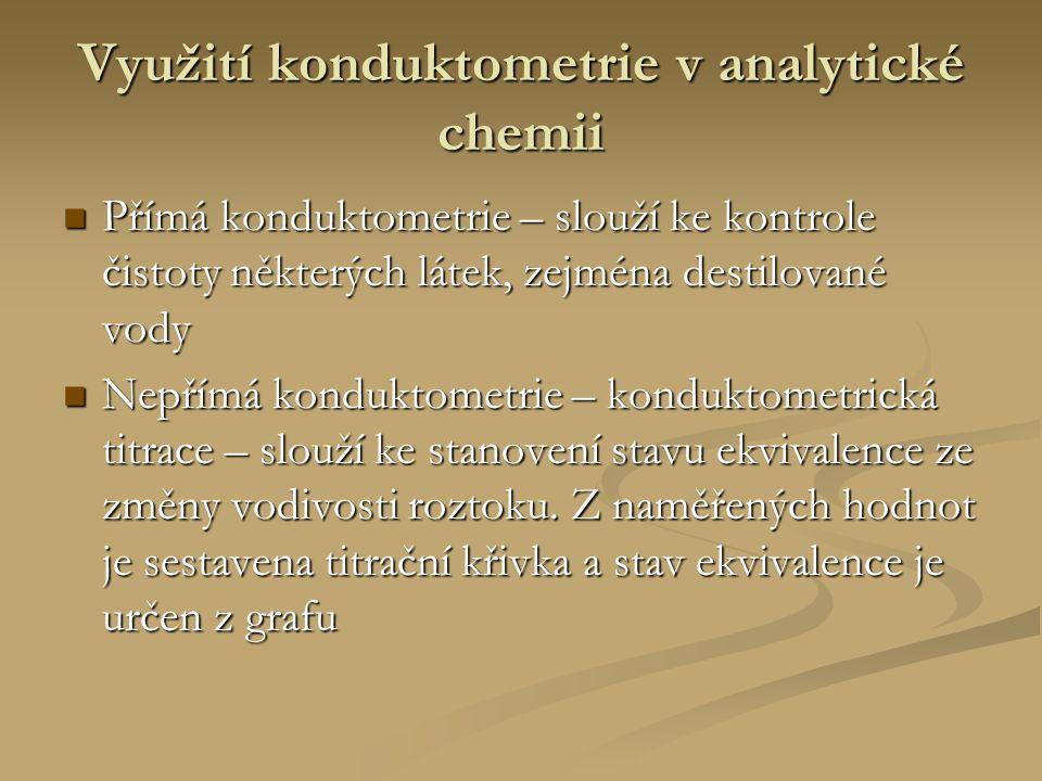 Využití konduktometrie v analytické chemii Přímá konduktometrie – slouží ke kontrole čistoty některých látek, zejména destilované vody Přímá konduktom