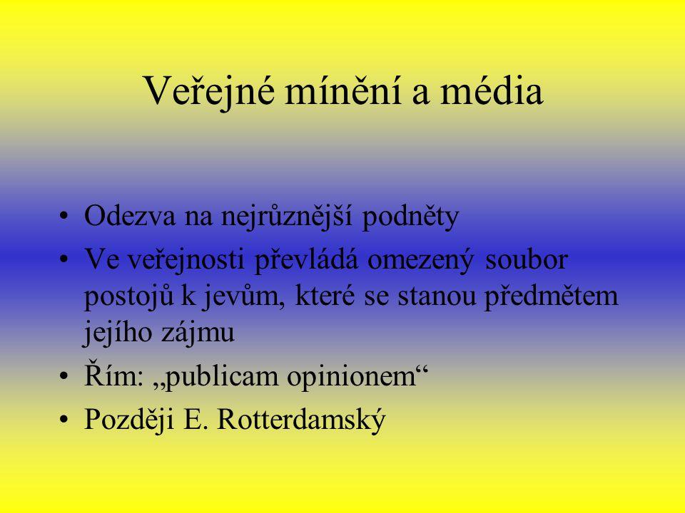 """Veřejné mínění a média Odezva na nejrůznější podněty Ve veřejnosti převládá omezený soubor postojů k jevům, které se stanou předmětem jejího zájmu Řím: """"publicam opinionem Později E."""