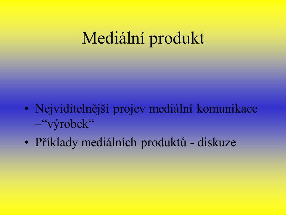 Mediální produkt Nejviditelnější projev mediální komunikace – výrobek Příklady mediálních produktů - diskuze