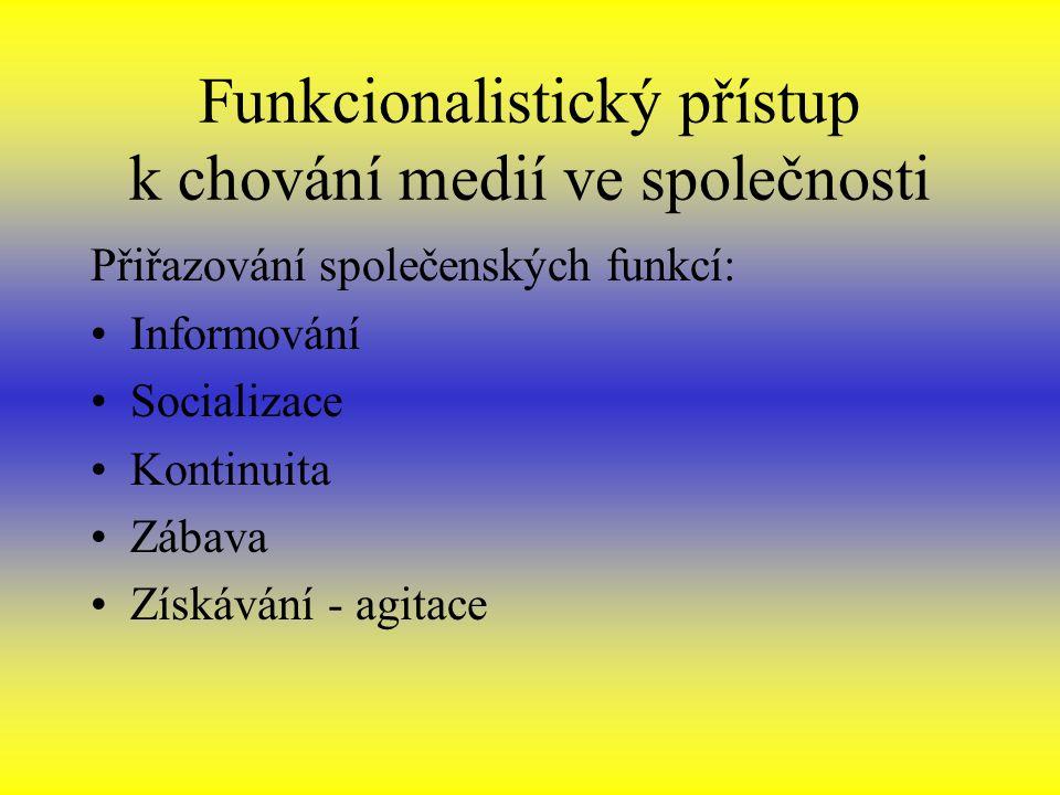 Funkcionalistický přístup k chování medií ve společnosti Přiřazování společenských funkcí: Informování Socializace Kontinuita Zábava Získávání - agitace