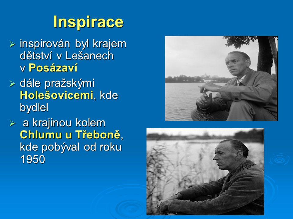 Inspirace  inspirován byl krajem dětství v Lešanech v Posázaví  dále pražskými Holešovicemi, kde bydlel  a krajinou kolem Chlumu u Třeboně, kde pob
