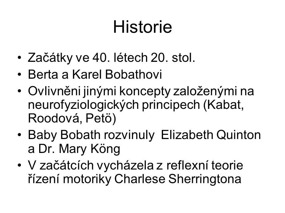 Historie Začátky ve 40. létech 20. stol. Berta a Karel Bobathovi Ovlivněni jinými koncepty založenými na neurofyziologických principech (Kabat, Roodov