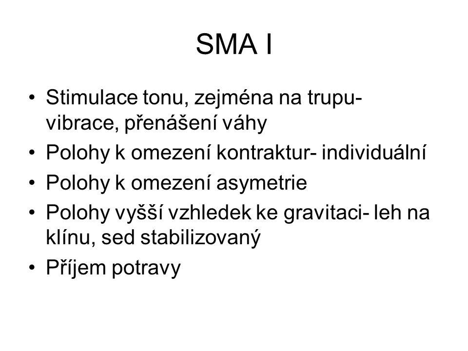 SMA I Stimulace tonu, zejména na trupu- vibrace, přenášení váhy Polohy k omezení kontraktur- individuální Polohy k omezení asymetrie Polohy vyšší vzhledek ke gravitaci- leh na klínu, sed stabilizovaný Příjem potravy