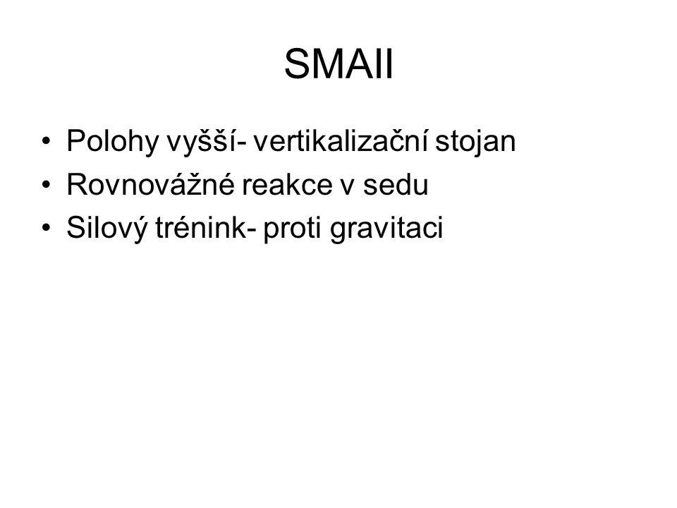 SMAII Polohy vyšší- vertikalizační stojan Rovnovážné reakce v sedu Silový trénink- proti gravitaci