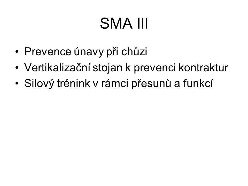 SMA III Prevence únavy při chůzi Vertikalizační stojan k prevenci kontraktur Silový trénink v rámci přesunů a funkcí