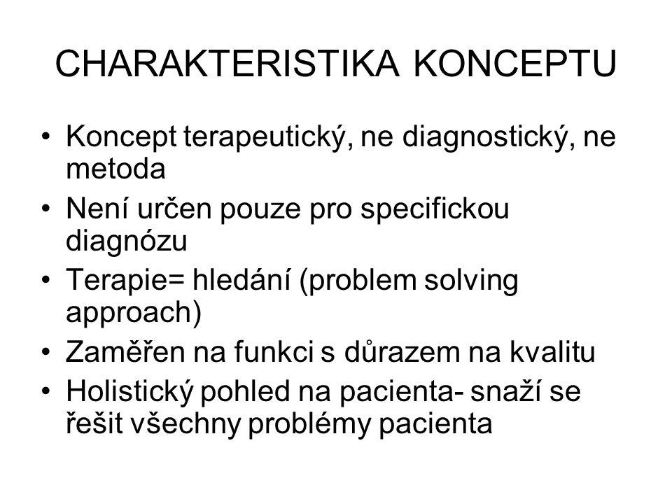 CHARAKTERISTIKA KONCEPTU Koncept terapeutický, ne diagnostický, ne metoda Není určen pouze pro specifickou diagnózu Terapie= hledání (problem solving