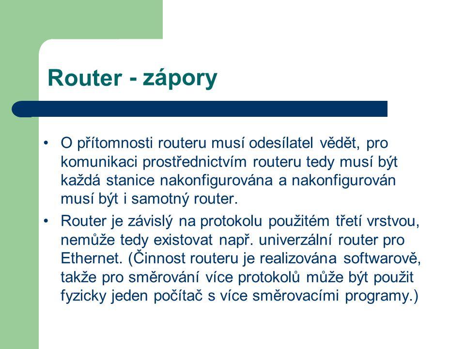 Router - zápory O přítomnosti routeru musí odesílatel vědět, pro komunikaci prostřednictvím routeru tedy musí být každá stanice nakonfigurována a nako