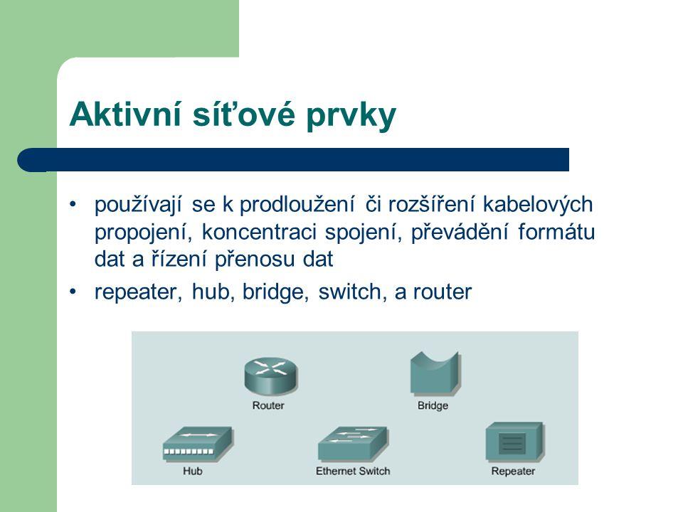 Aktivní síťové prvky používají se k prodloužení či rozšíření kabelových propojení, koncentraci spojení, převádění formátu dat a řízení přenosu dat rep