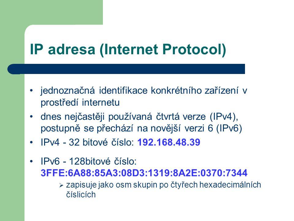 IP adresa (Internet Protocol) jednoznačná identifikace konkrétního zařízení v prostředí internetu dnes nejčastěji používaná čtvrtá verze (IPv4), postu