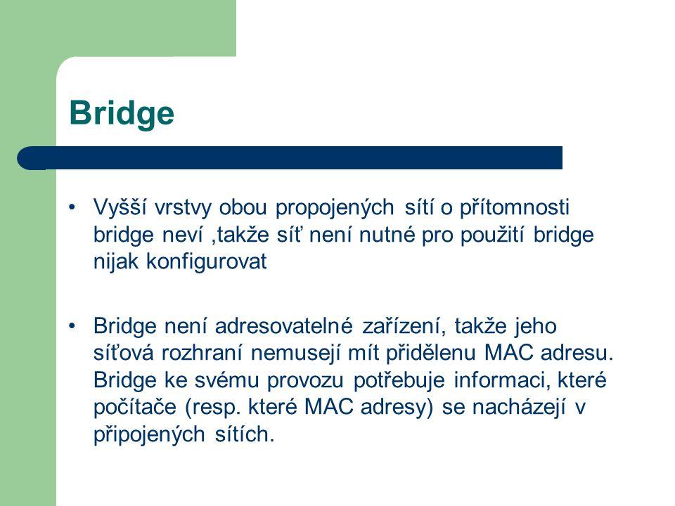 Bridge Vyšší vrstvy obou propojených sítí o přítomnosti bridge neví,takže síť není nutné pro použití bridge nijak konfigurovat Bridge není adresovatel