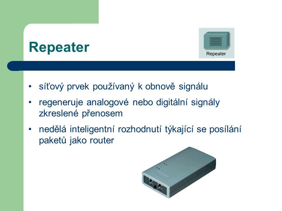 Repeater síťový prvek používaný k obnově signálu regeneruje analogové nebo digitální signály zkreslené přenosem nedělá inteligentní rozhodnutí týkajíc