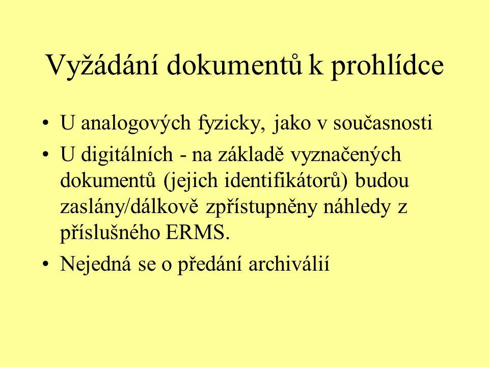 Vyžádání dokumentů k prohlídce U analogových fyzicky, jako v současnosti U digitálních - na základě vyznačených dokumentů (jejich identifikátorů) budou zaslány/dálkově zpřístupněny náhledy z příslušného ERMS.