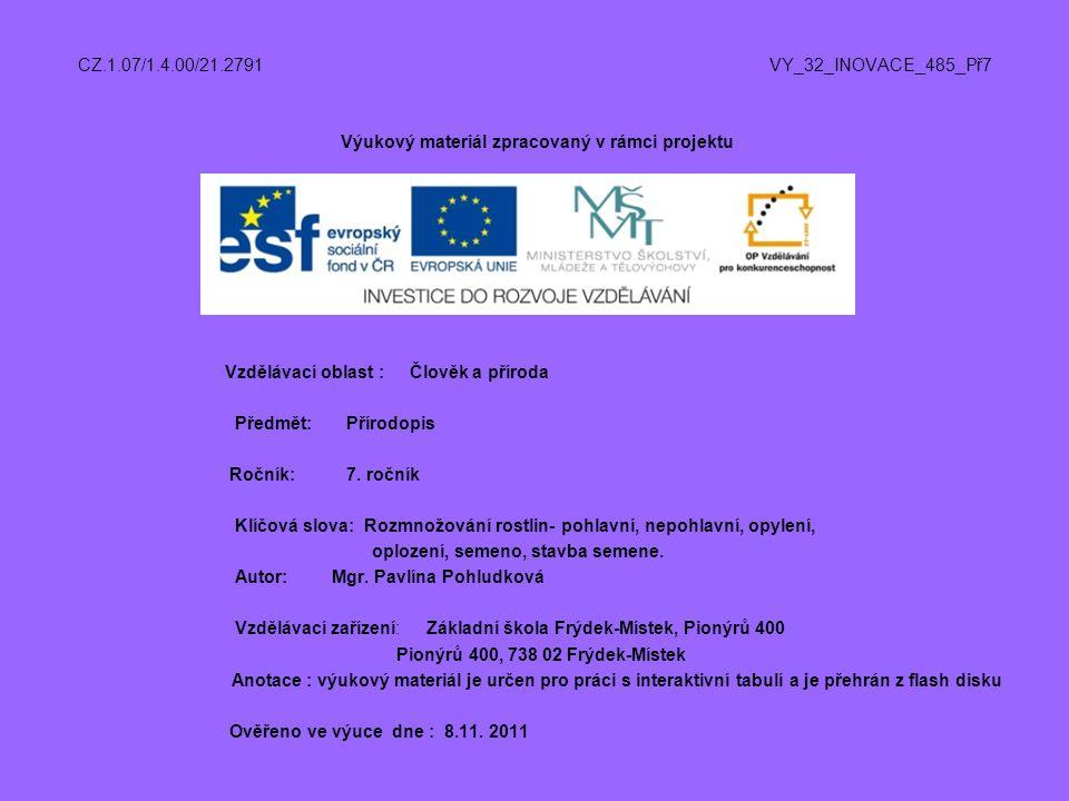 CZ.1.07/1.4.00/21.2791 VY_32_INOVACE_485_Př7 Výukový materiál zpracovaný v rámci projektu Vzdělávací oblast : Člověk a příroda Předmět: Přírodopis Roč