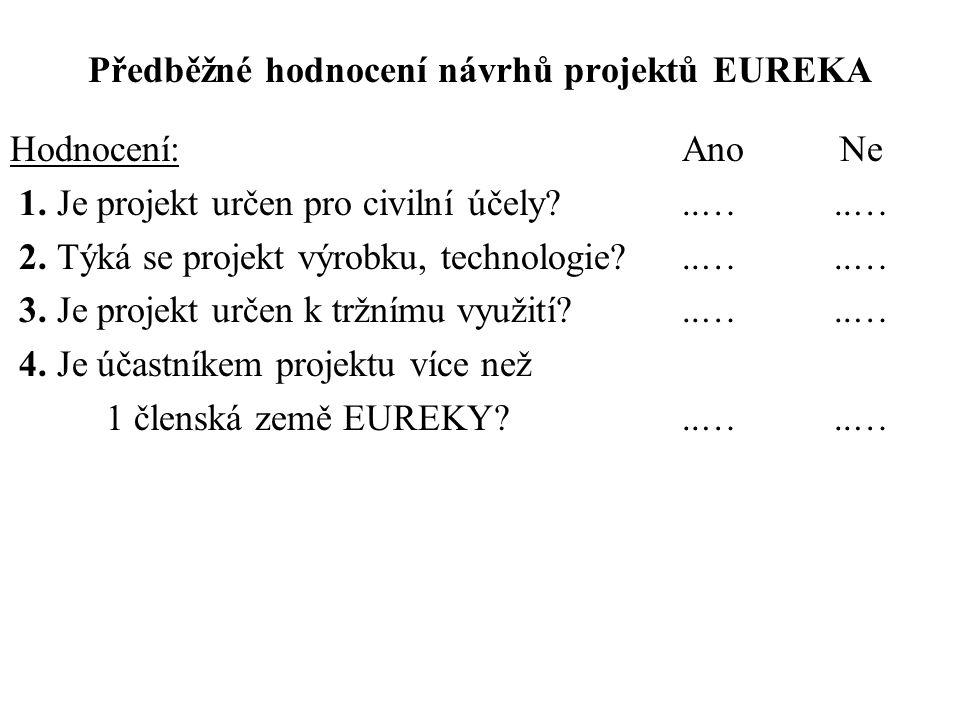 Předběžné hodnocení návrhů projektů EUREKA Hodnocení: Ano Ne 1. Je projekt určen pro civilní účely?..…..… 2. Týká se projekt výrobku, technologie?..….