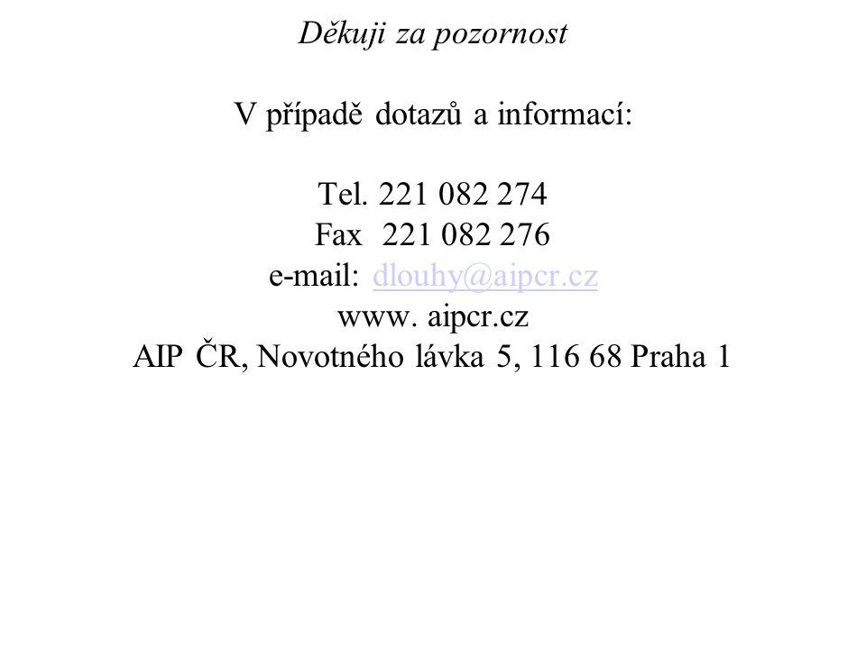 Děkuji za pozornost V případě dotazů a informací: Tel. 221 082 274 Fax 221 082 276 e-mail: dlouhy@aipcr.cz www. aipcr.cz AIP ČR, Novotného lávka 5, 11