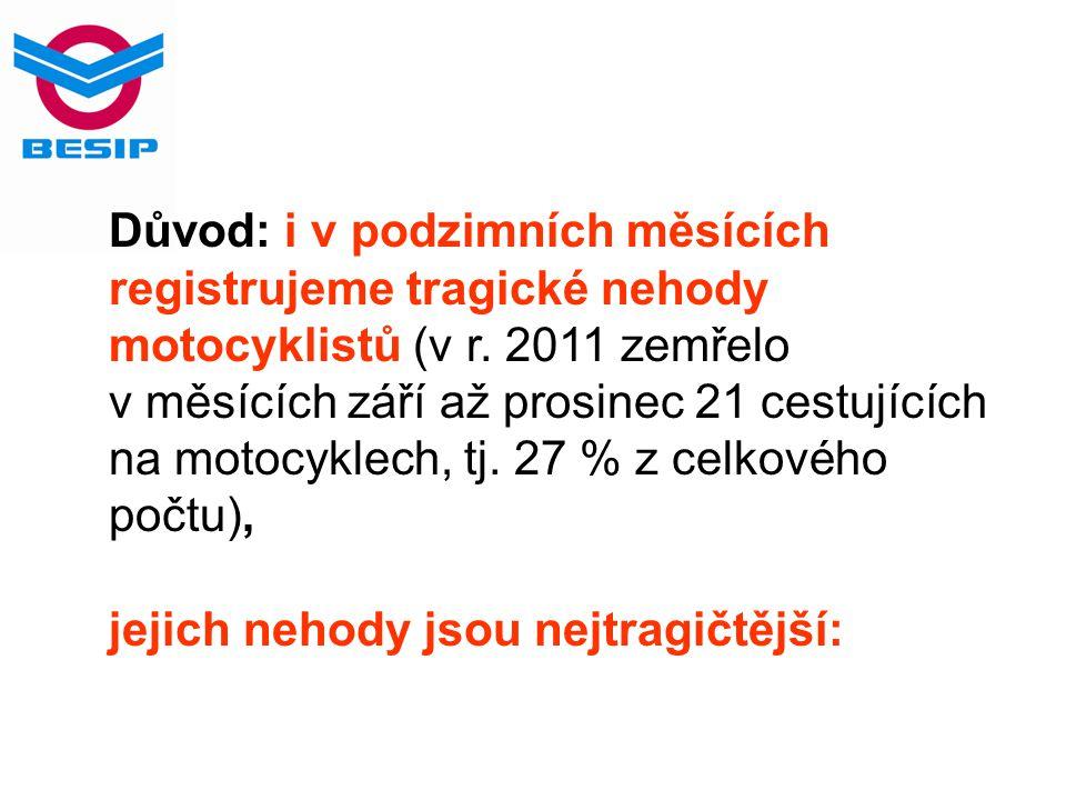 Důvod: i v podzimních měsících registrujeme tragické nehody motocyklistů (v r. 2011 zemřelo v měsících září až prosinec 21 cestujících na motocyklech,