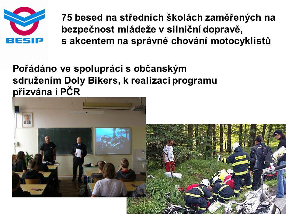 75 besed na středních školách zaměřených na bezpečnost mládeže v silniční dopravě, s akcentem na správné chování motocyklistů Pořádáno ve spolupráci s