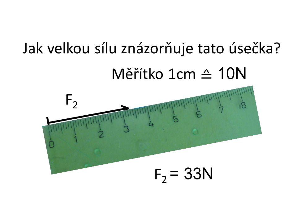 F2F2 Jak velkou sílu znázorňuje tato úsečka Měřítko 1cm ≙ 10N F 2 = 33N