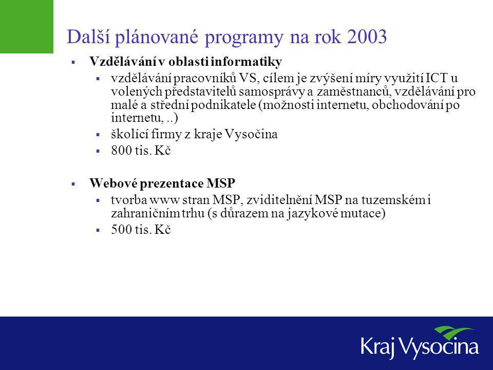 Další plánované programy na rok 2003  Vzdělávání v oblasti informatiky  vzdělávání pracovníků VS, cílem je zvýšení míry využití ICT u volených předs