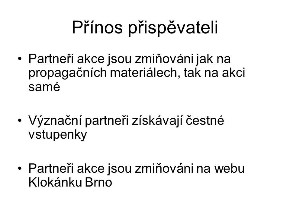 Přínos přispěvateli Partneři akce jsou zmiňováni jak na propagačních materiálech, tak na akci samé Význační partneři získávají čestné vstupenky Partneři akce jsou zmiňováni na webu Klokánku Brno