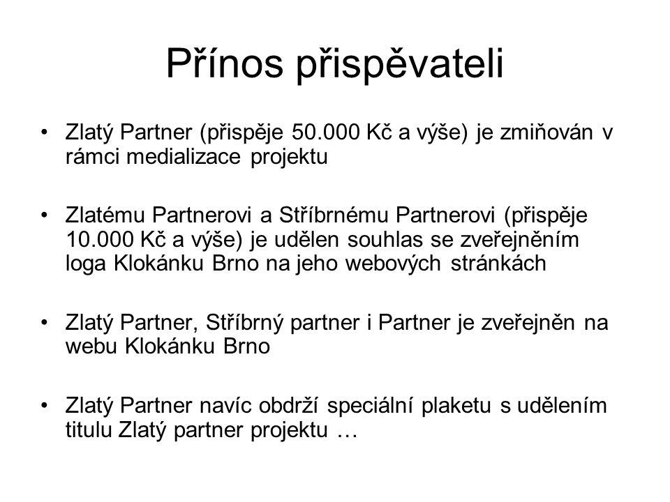 Přínos přispěvateli Zlatý Partner (přispěje 50.000 Kč a výše) je zmiňován v rámci medializace projektu Zlatému Partnerovi a Stříbrnému Partnerovi (přispěje 10.000 Kč a výše) je udělen souhlas se zveřejněním loga Klokánku Brno na jeho webových stránkách Zlatý Partner, Stříbrný partner i Partner je zveřejněn na webu Klokánku Brno Zlatý Partner navíc obdrží speciální plaketu s udělením titulu Zlatý partner projektu …