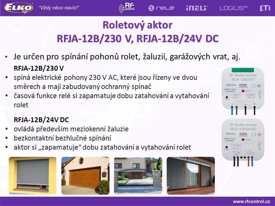 Roletový aktor RFJA-12B/230 V, RFJA-12B/24V DC RFJA-12B/230 V spíná elektrické pohony 230 V AC, které jsou řízeny ve dvou směrech a mají zabudovaný oc