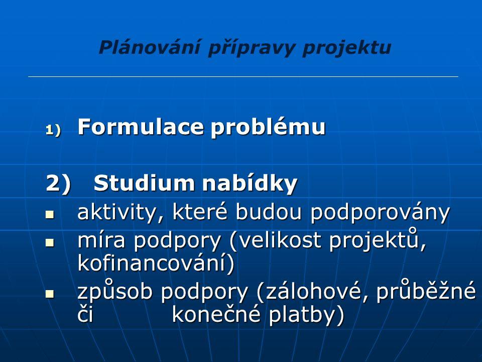 Plánování přípravy projektu 1) Formulace problému 2) Studium nabídky aktivity, které budou podporovány aktivity, které budou podporovány míra podpory